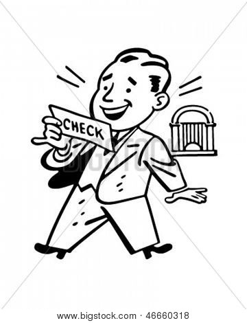 Man Receiving Check - Retro Clip Art Illustration