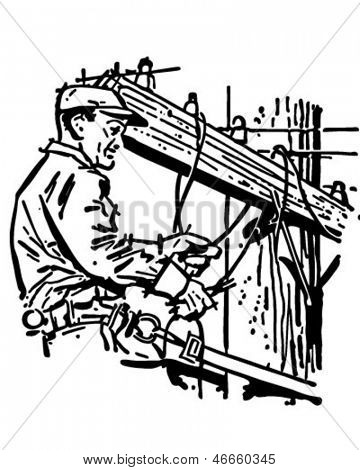 Wichita Lineman - Retro Clip Art Illustration