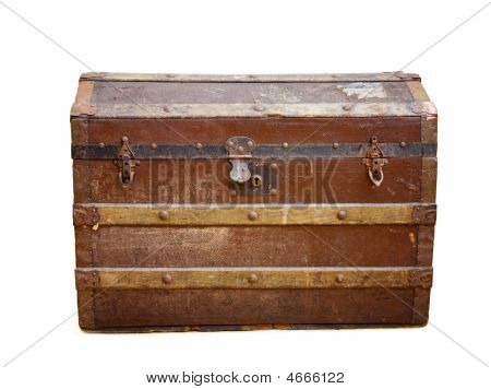Antique Travel Trunk With Rusty Locks Over White
