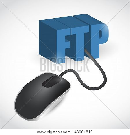 Ftp Sign Connected To Mouse Illustration Design
