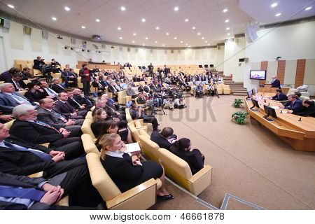 MOSCOW - OCTOBER 6: Audience and participant of conference at presentation of Olympic Winter Games Sochi - 2014 and FIFA World Cup - 2018 in Russian State Duma, on October 6, 2012 in Moscow, Russia.