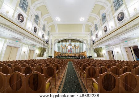 MOSCOW - OCT 4: Hall of the Moscow Tchaikovsky Conservatory (view from the center of hall) on October 4, 2012 in Moscow, Russia.