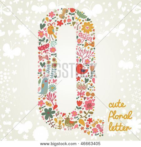 The letter Q. Bright floral element of colorful alphabet made ??from birds, flowers, petals, hearts and twigs. Summer floral ABC element in vector