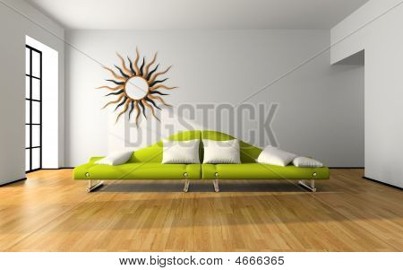 Modern Interior With Green Sofa