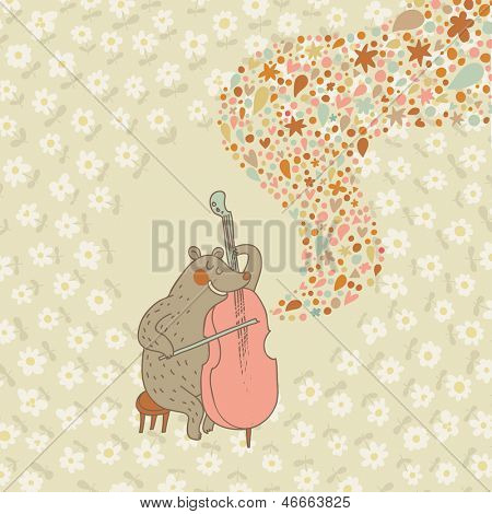 Funny bear musician playing on cello. Cartoon childish vector card. Bright cartoon background. Birthday vector card.