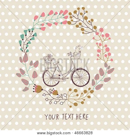 Cute vintage background with bicycle and place for your text. Dachshund and plants in bike basket. Celebration card. Birthday concept. Spring  garden wreath.
