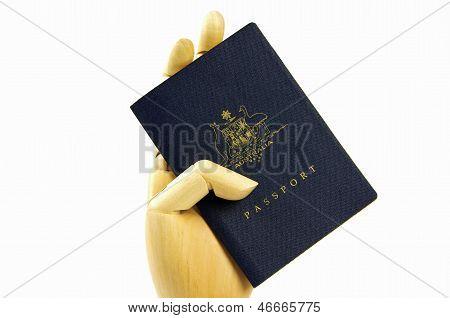 passport and hand