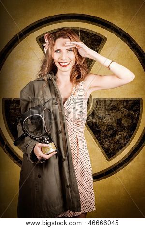 Military Pin-up Woman. Atomic Female Bombshell
