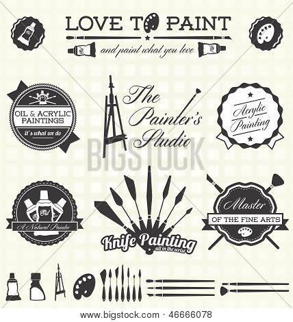 Vector Set: Retro Painter Labels and Icons