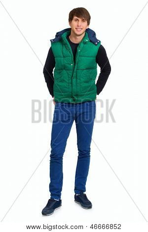Young Man Wearing Wind-cheater Over White Background