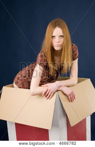 Girl Posing In Box