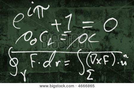 Sums On Grunge Green Black Board