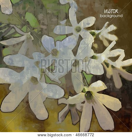 art vintage sepia background with white flowers