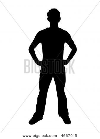 Standing Man Portrait Full Body Silhouette