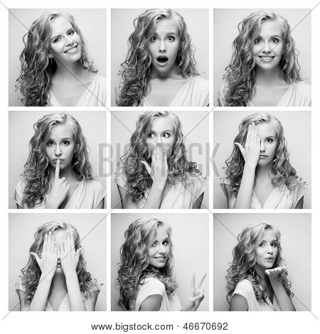Young woman performing various expressions with her face. Black and white picture.