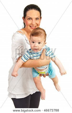 Mother Holding Baby With Long Drool