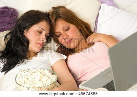 Best friends fell asleep during watching a movie