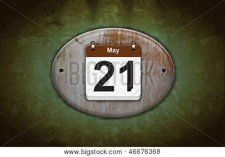 Old Wooden Calendar With May 21.