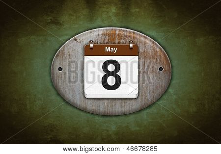 Old Wooden Calendar With May 8.