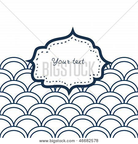 Navy blue and white scallop patterned frame for your text card background, vector