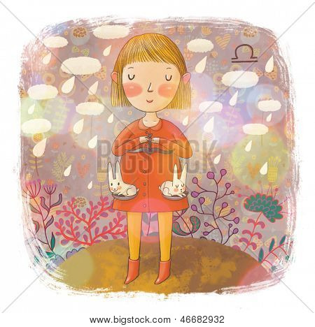 Zodiac sign - Libra. Part of a large colorful cartoon calendar. Cute girl with funny small rabbits under the rain in flowers. Cartoon illustration in pastel colors.