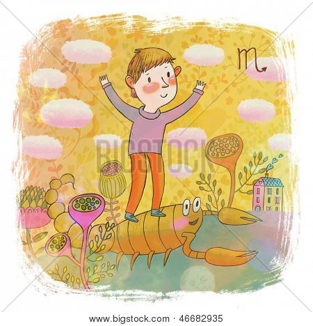 Zodiac sign - scorpio . Part of a large colorful cartoon calendar. Cute boy and scorpion in pastel colors. Spring concept illustration