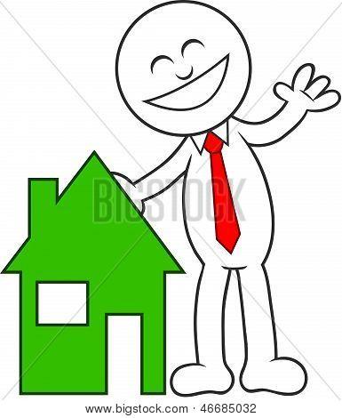 Cartoon Man Happy With House