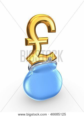 Blue purse and symbol of pound sterling.