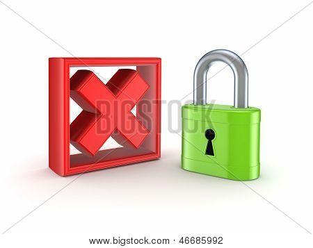 Lock and cross mark.