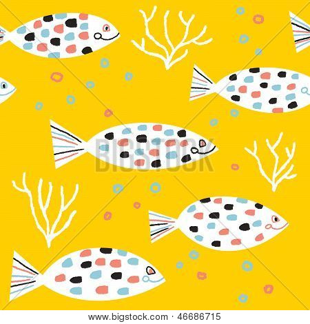 charming fishes and colored bubbles vector seamless pattern