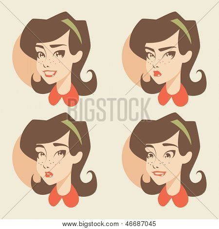Retro girl / emotions icons