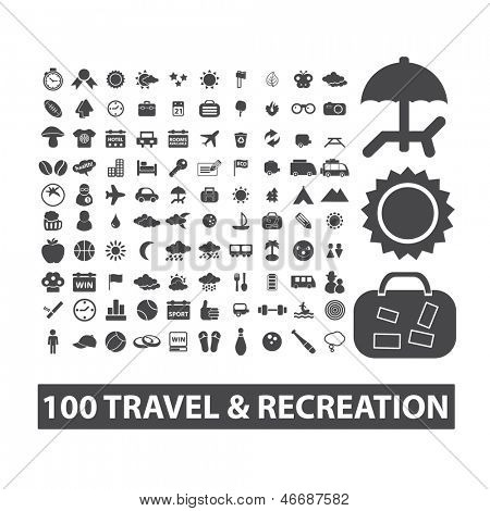 travel, vacation, recreation icons set, vector