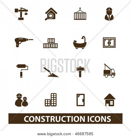 construction, repair services icons set, vector