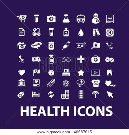 big health, hospital, medical icons, signs set, vector