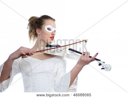 Portrait of sexy woman with white party mask on face and white violin in hands, isolated on white