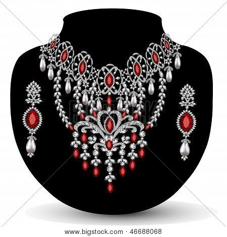 De un collar con su boda con pedrería roja