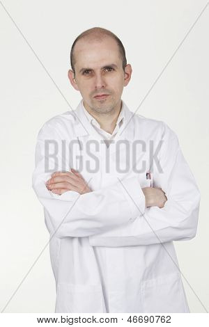 Man In White Labcoat With Folded Arms