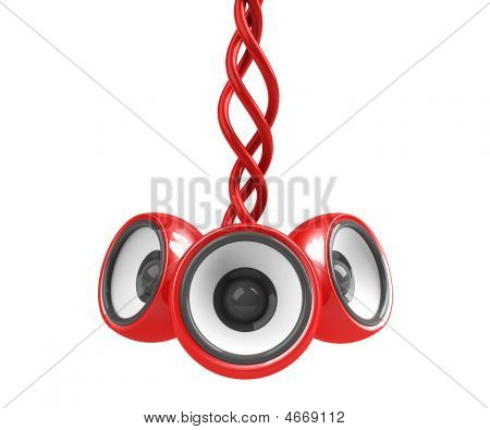 Red Hanging Audio System Isolated