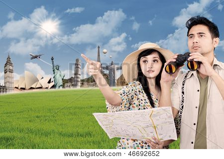 Asian Couple Travel Around The World