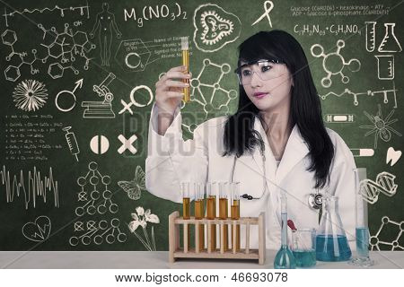 Beautiful Doctor Looking At Liquid Flasks At Laboratory