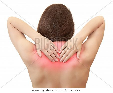 Woman Holding Hands Her Back In Pain With Red Symbol Isolated On White