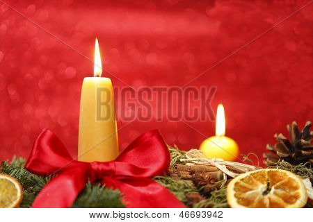 two yellow candles