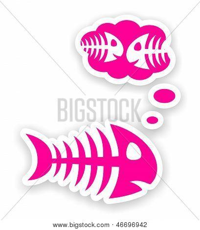 Sad Pink Fish Bone Stickers