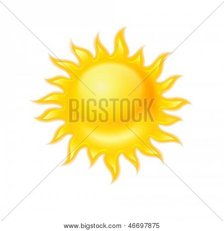 Hot yellow sun icon isolated on white background. EPS10 Vector Illustration.