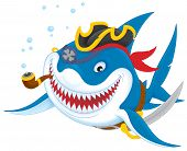 stock photo of pirate hat  - Great white shark with a pirate saber - JPG