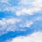 stock photo of stratus  - cloudscape with stratus clouds in blue sky in March France - JPG