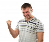 image of phallic  - Man gesturing strong hand symbolizing his erection power - JPG