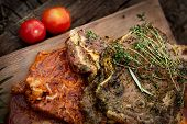 pic of marinade  - Raw marinated meat with fresh vegetables for barbecue - JPG