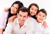 stock photo of bonding  - Happy family portrait smiling  - JPG