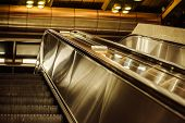 stock photo of escalator  - the modern 2 escalators in underground  - JPG